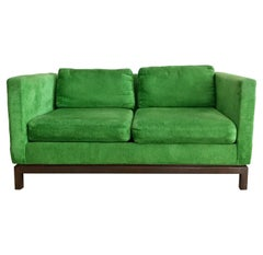 Midcentury Green Velvet Sofa with Walnut Legs by Selig
