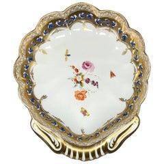 English Gilt Painted Shell Shaped Sweetmeat Dish