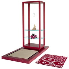 Room for Ritual Meditation Shrine with Shelves & light Tatami Mat & Handmade Rug