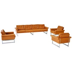 Four-Seat Sofa and Set of Three Chairs, 1960s