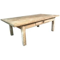 19th Century Rustic Scrubbed Pale Elm French Coffee Table