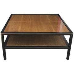 Modern Michael Taylor for Baker Square Walnut and Cane Two-Tone Coffee Table