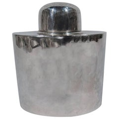 Stylish Arts & Crafts Hand-Hammered Sterling Silver Tea Caddy