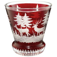 Black Forest Crystal Latern in Red with Hunting Scene Sofina Boutique Kitzbuehel
