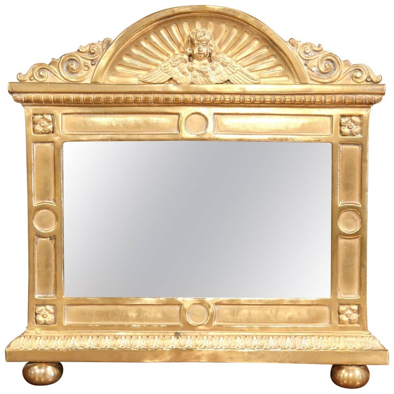 19th Century French Ornate Repousse Copper Parclose Wall Mirror For ...