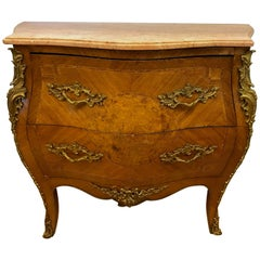 French Louis XV Commode Bombe Chest Dresser Chest of Drawers