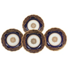 12 Stunning Cobalt Blue Gilt Encrusted Dinner or Presentation Plates, Medallion