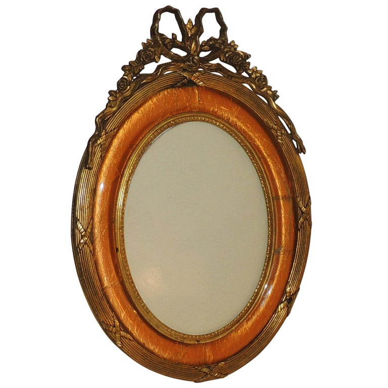 Wonderful Vintage French Bow Top Doré Bronze Oval Peach Enamel Picture Frame