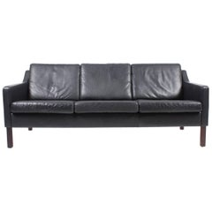 Danish Three-Seat Leather Sofa