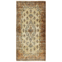 Large Antique Lavar Kerman Rug with Blossoming Floral Motifs in Cream and Blue