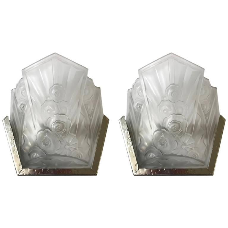 Pair of French Art Deco Sconces Signed by J Robert