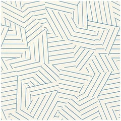 Schumacher Miles Redd Deconstructed Stripe Screen Printed Cobalt Wallpaper