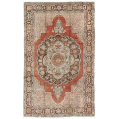 Antique Turkish Oushak Rug with Floral Medallion in Red, Charcoal and Cream