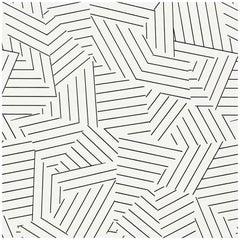 Schumacher Miles Redd Deconstructed Stripe Screen-Printed Black White Wallpaper