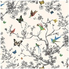 Schumacher Birds and Butterflies Hand-Printed Multi White Wallpaper Two-Roll Set