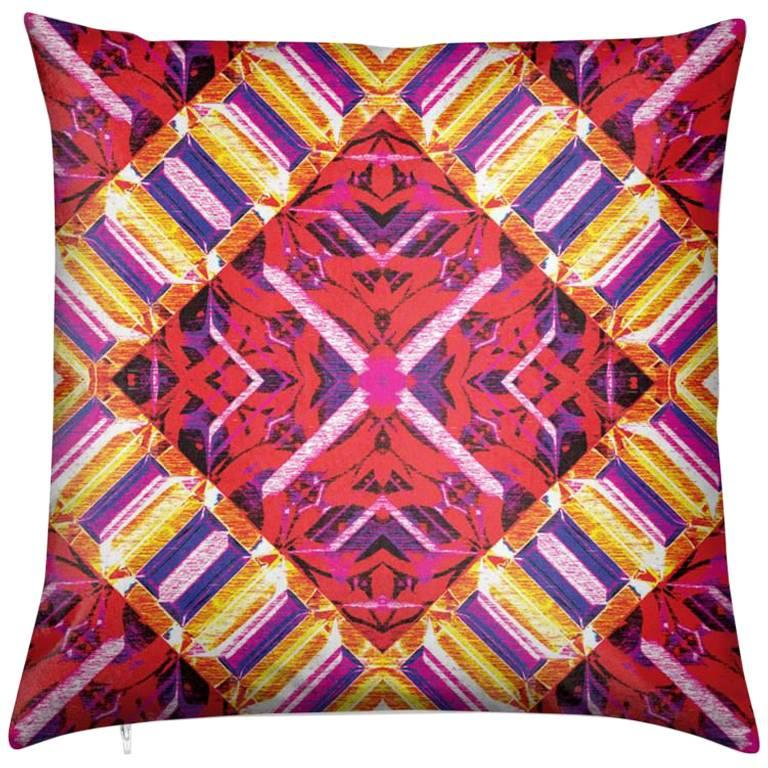 Curitiba Print Pink Mod Pillow by Lolita Lorenzo Home Collection For Sale