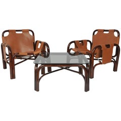 1960s Bonacina Set of Two Italian Armchairs and Coffee Table, Bamboo and Leather