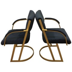 Chic Pair of Gold and Navy Chairs