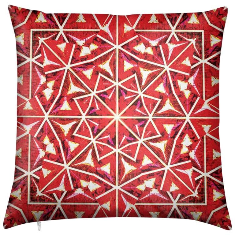 Bahia Print Nandi Flame Pillow by Lolita Lorenzo Home Collection For Sale