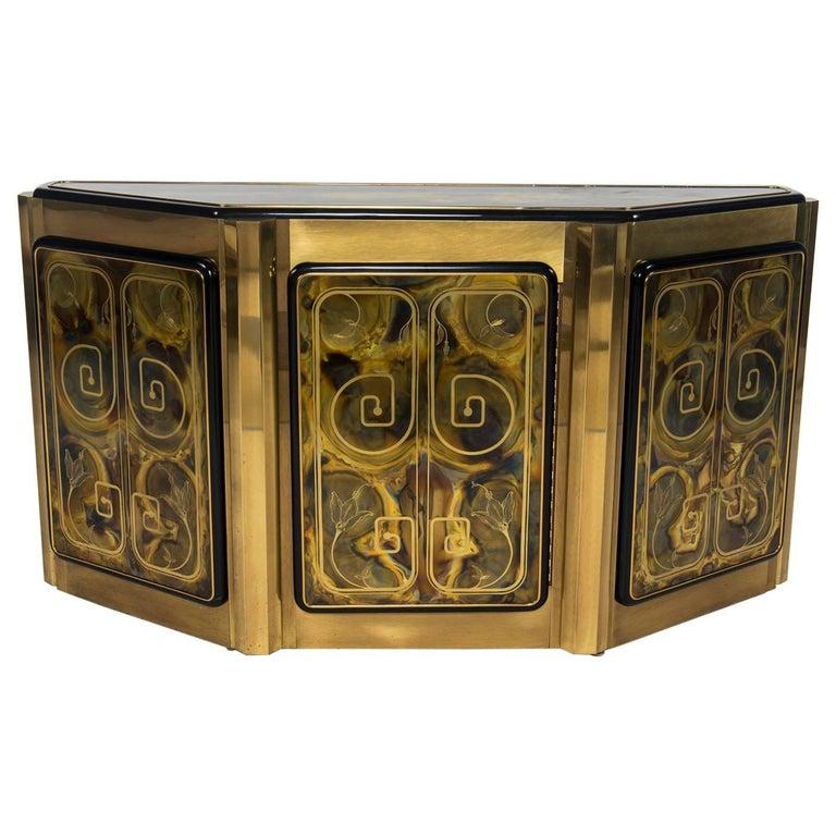 Etched Brass Mastercraft Cabinet by Bernhard Rohne