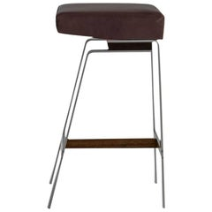 Gavilan Barstool, Nickel with Walnut Details and Chocolate Brown Leather