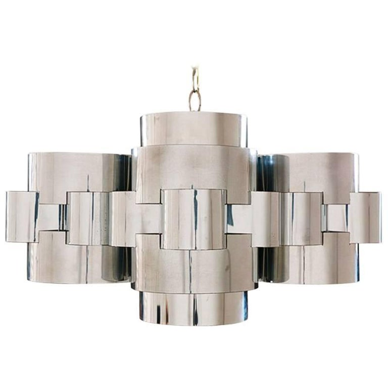 "Curtis Jere ""Cloud"" Chrome Chandelier for Artisan House 1"