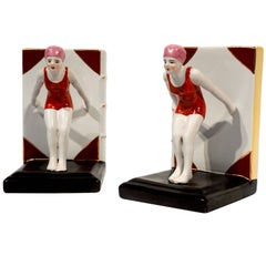 Italian 1930 Art Deco Ceramic Female Diving Figure in Red Bathing Suit Bookends