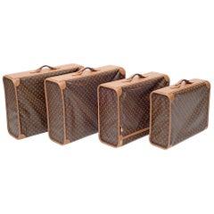 Set of Four Louis Vuitton Soft-Side Canvas Pullman Cases, France, 1970s