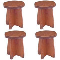 Handmade Honey Pine Stools or Small Tables, USA, 1950s