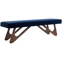 Walnut Boomerang Bench in Navy Velvet