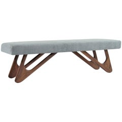 Walnut Boomerang Bench in Grey Chenille
