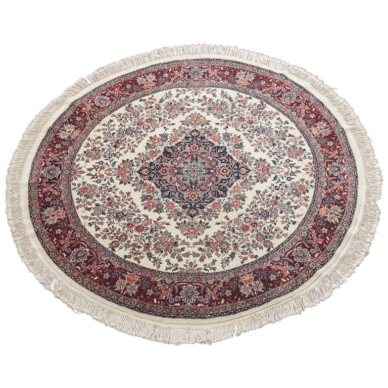 Ivory Wool And Silk Persian Naein Area Rug For Sale At 1stdibs: Fine Round Persian Tabriz Area Rug For Sale At 1stdibs