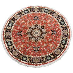 Round Wool and Silk Persian Tabriz Area Rug