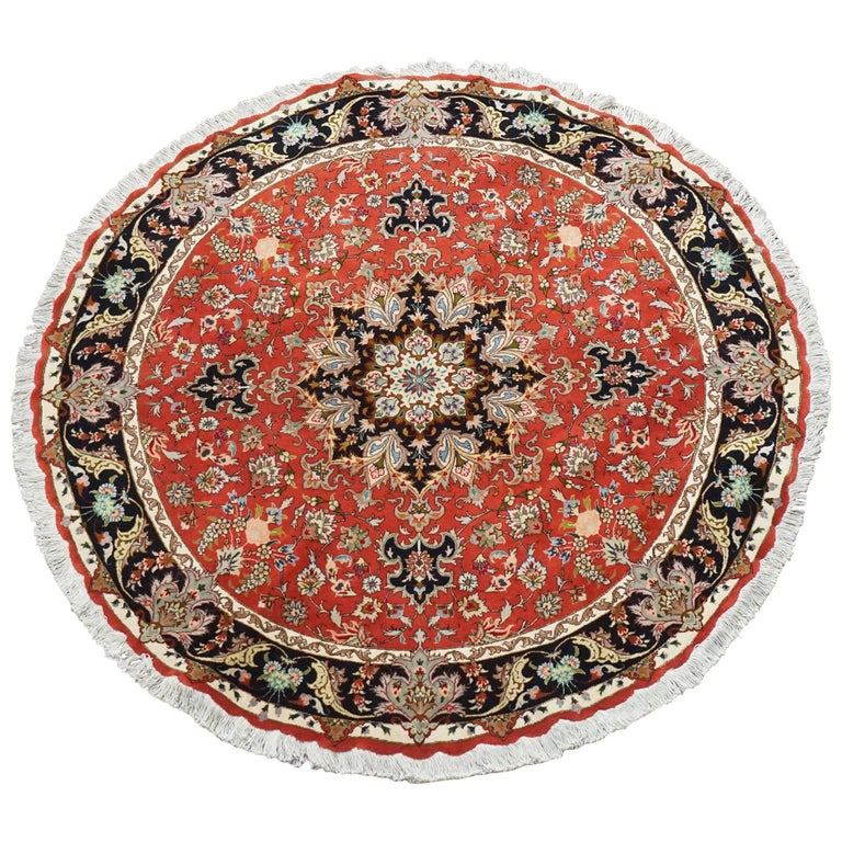 Ivory Wool And Silk Persian Naein Area Rug For Sale At 1stdibs: Round Wool And Silk Persian Tabriz Area Rug For Sale At