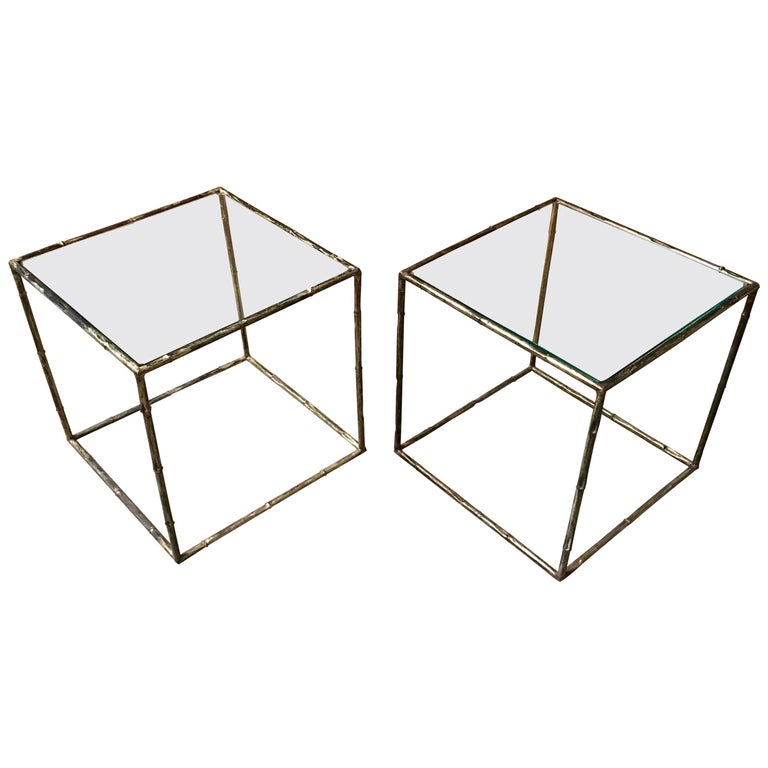 Pair of Geometric Faux Bamboo End Tables