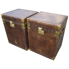 English Leather Brass Bound Trunks