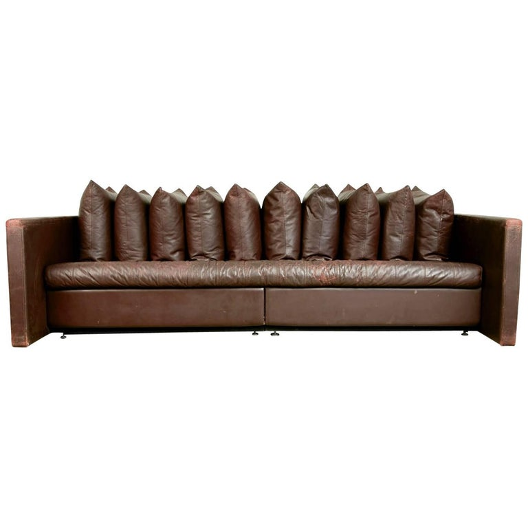 Architectural Leather Sofa by Joseph D'Urso for Knoll International, circa 1980 For Sale