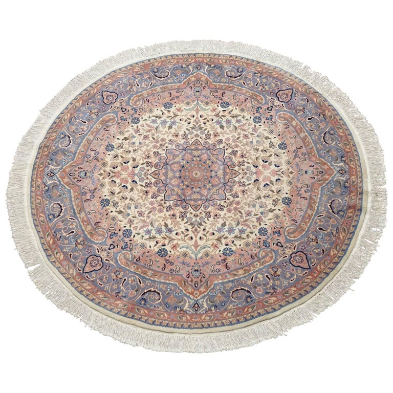 Ivory Wool And Silk Persian Naein Area Rug For Sale At 1stdibs: Round Ivory Persian Tabriz Area Rug For Sale At 1stdibs