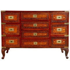 Carved Walnut and Brass Inlay Campaign Chest Dresser