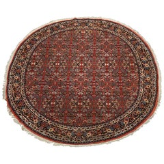 Fine Round Persian Bidjar Area Rug, Hand-Knotted Wool and Silk