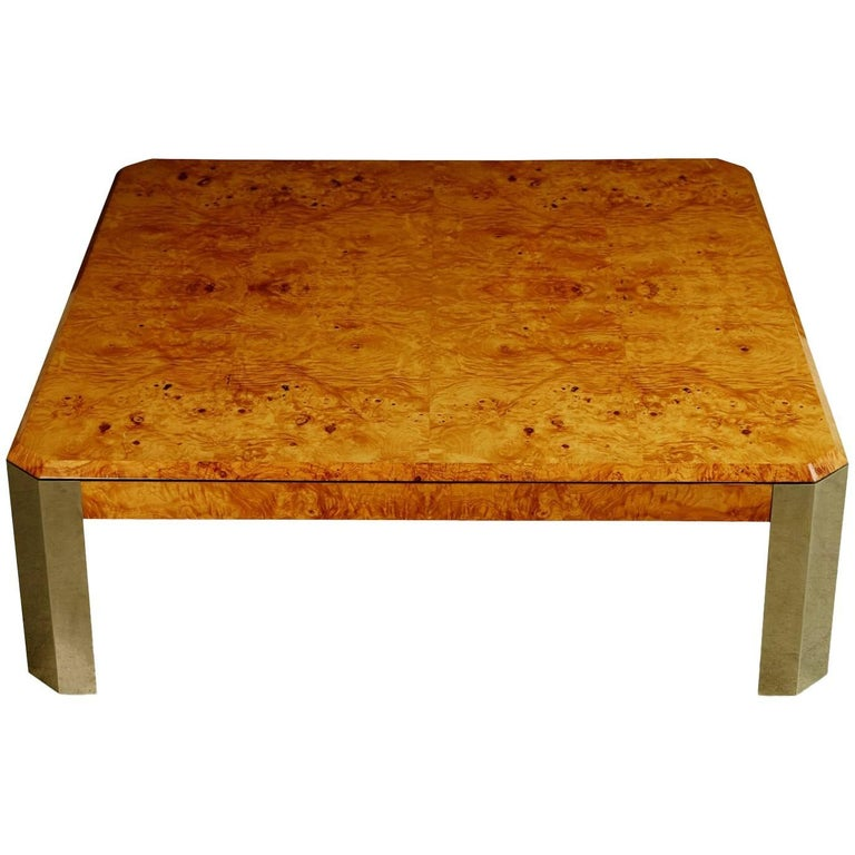 Leon Rosen for the Pace Collection Burled Wood Large Coffee Table