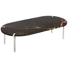 Sereno Coffee Table in St. Laurent Marble and Polished Silver