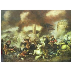 17th Century Cavalry Skirmish, Reproduction Oil Painting on Canvas