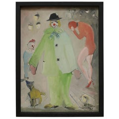 Small Painting of Clown and Circus Scene