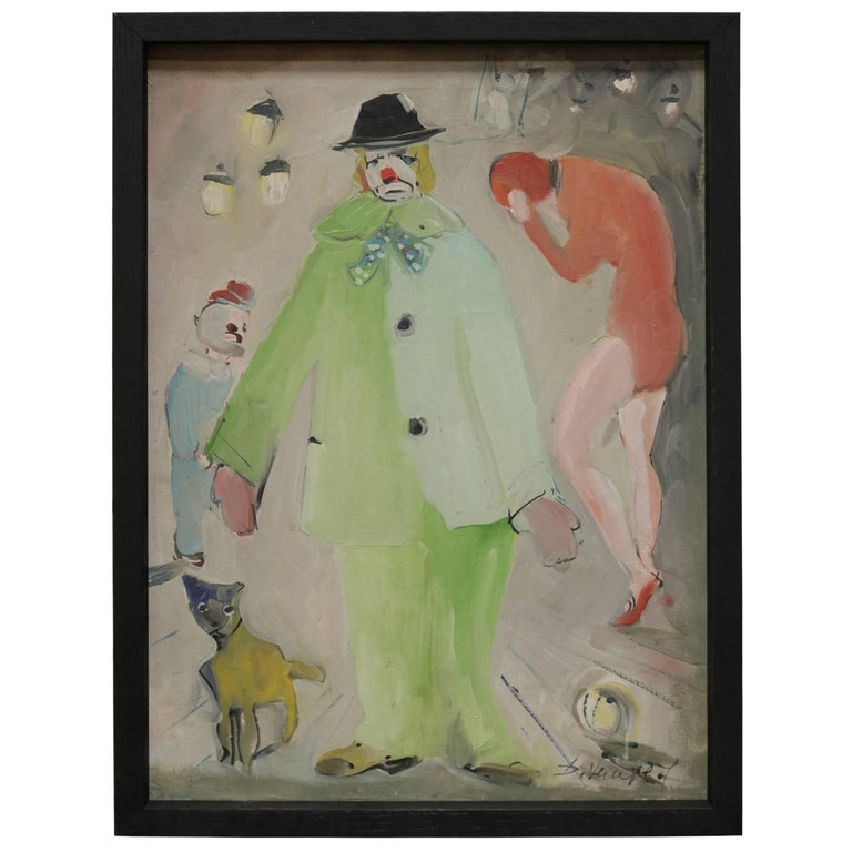Small Painting of Clown and Circus Scene For Sale