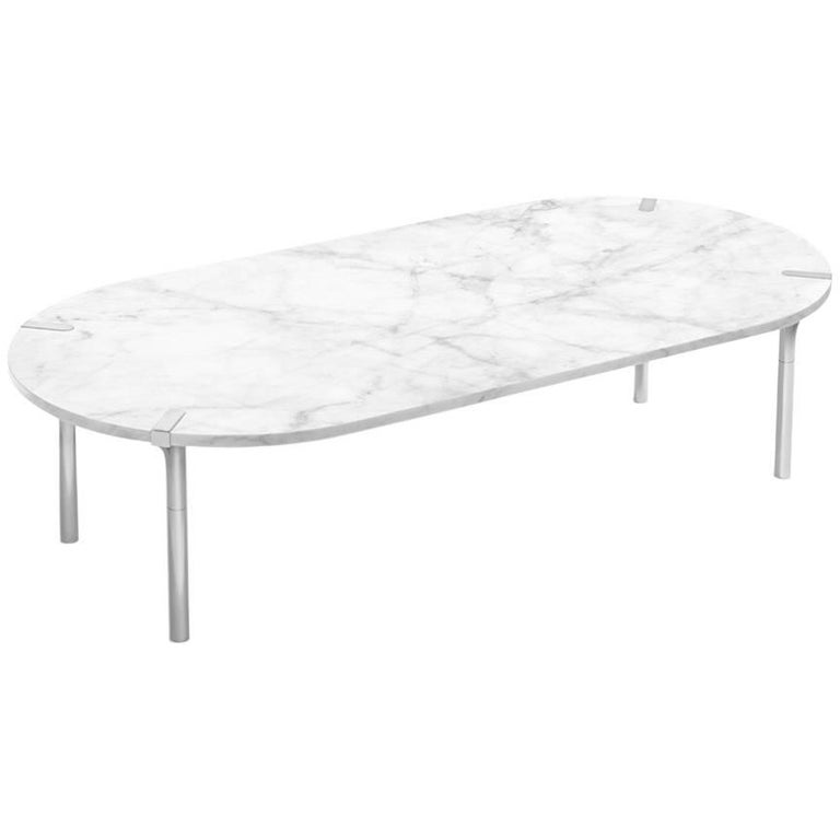 Sereno Coffee Table In Carrara Marble And Polished Silver In Stock For Sale At 1stdibs