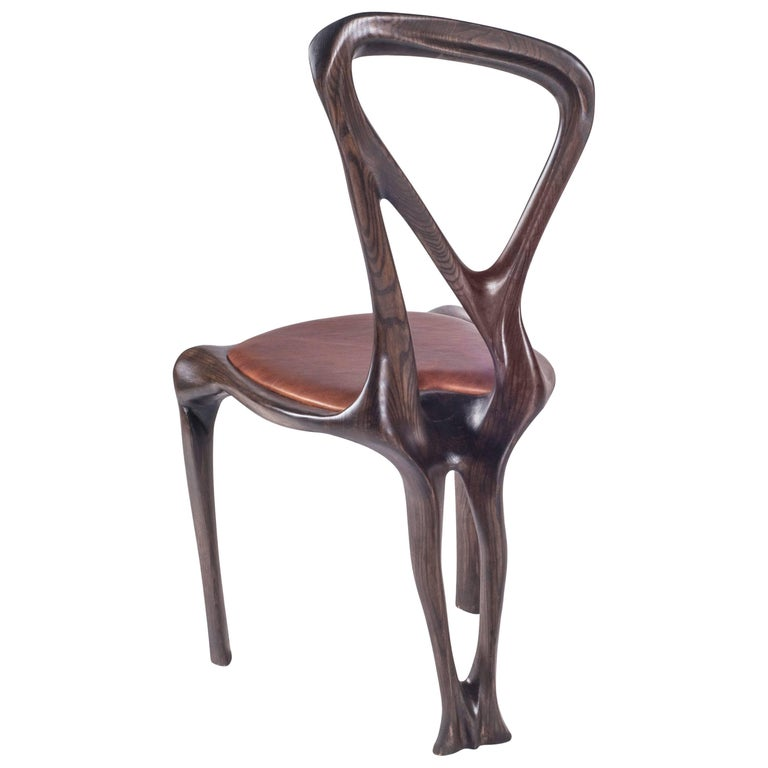 Amorph Gazelle Dining Chair, Solid Wood, Stained Graphite Walnut, For Sale