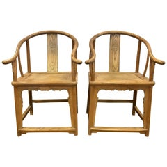 Pair of Antique Chinese Horseshoe Chairs