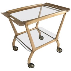 Cesare Lacca Blond Beech Bar Cart, Italy, 1950s