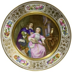 Sèrves Plate with Well Painted Historical Scene, Dated 1901